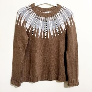 J Crew Sweater Med Womens Tan Brown Crew Neck